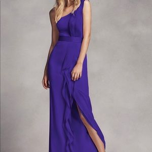 One-Shoulder Bridesmaid Dress w/ Ruffles